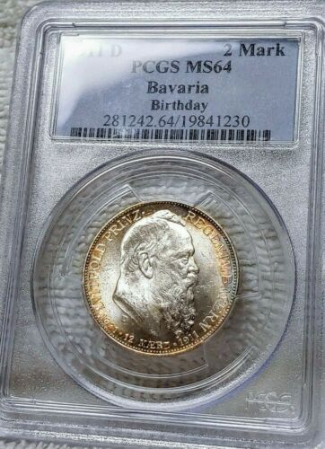 PCGS MS64 Toned 1911-D German States Bavaria 2 Mark 90th Birthday Rare Coin