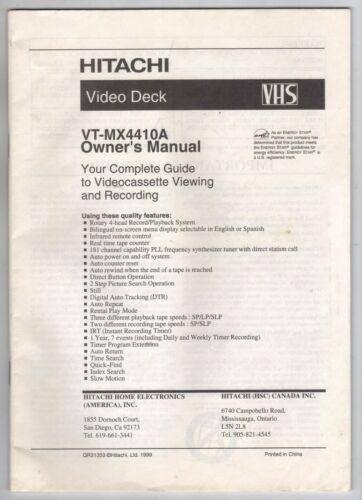 HITACHI VIDEO DECK VT-MX4410A VHS 1999 Owner