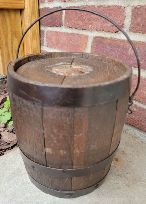 Antique Primitive Wooden Powder Barrell Keg Rustic Decor 1800