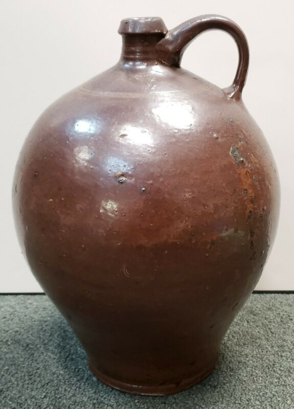 Early to Mid 19th Century New England Redware 2 Gallon Jug