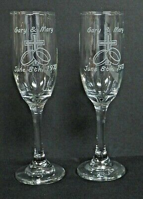 Engraved Champagne Flutes (PAIR LASER ENGRAVED GLASS CHAMPAGNE FLUTES TOASTING GLASSES PERSONALIZE WEDDING)