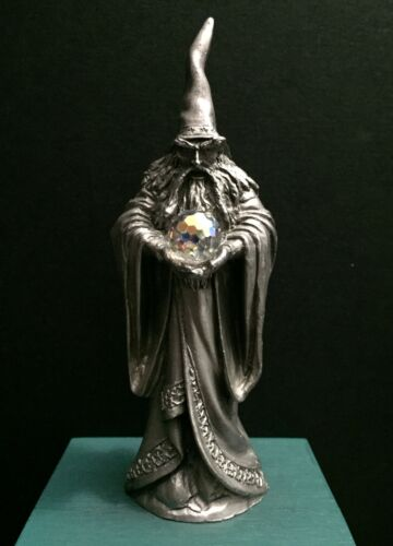 Perth Pewter Ray Lamb 1980 Metal Wizard Sorcerer Mage Crystal Ball Art Figurine