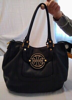 TORY BURCH Amanda Black Pebbled Leather Buttery Soft Hobo Handbag Gold Hardware