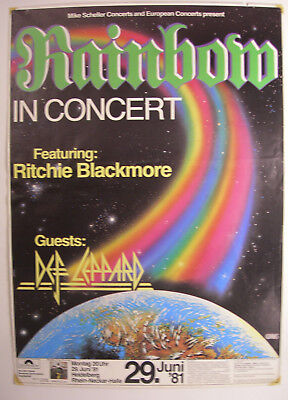 RAINBOW CONCERT TOUR POSTER 1981 DIFFICULT TO CURE RITCHIE BLACKMORE