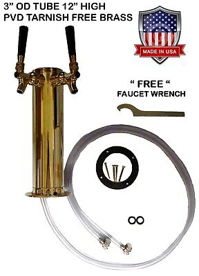 Double Faucet 3 Brass Draft Beer Tower Pvd Tarnish Free Brass - D4743dtbr -