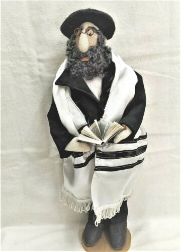 DOLL  HANDMADE DOLL OF JEWISH CHASSID RABBY WITH HIS PRAYER BOOK  MADE BY IRENA