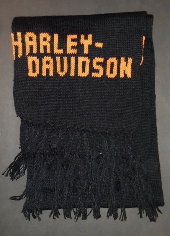 Vtg 80s Harley Davidson Motorcycles Winter Scarf Knitted