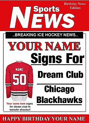 A5 Personalised Chicago Blackhawks Greeting Birthday Card Ice Hockey - Blackhawks Birthday