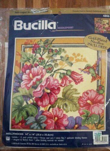 Bucilla Needlepoint Kit Hollyhocks Pillow NEW #4806