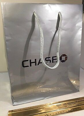 Chase Bank Little Grey Shopping Bag With Chase   Logo On Side Free Shipping