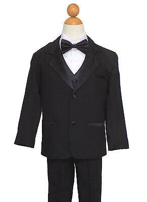 BOYS 5-PIECE SUIT, BLACK with BOW TIE, Sz: S, M, L, XL, 2T,3T,4T,5,6,7,12 - Black Suit Boys