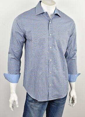 NWT J McLAUGHLIN Blue Navy Red Plaid Cotton Contrast Detail Flip Cuff Shirt S