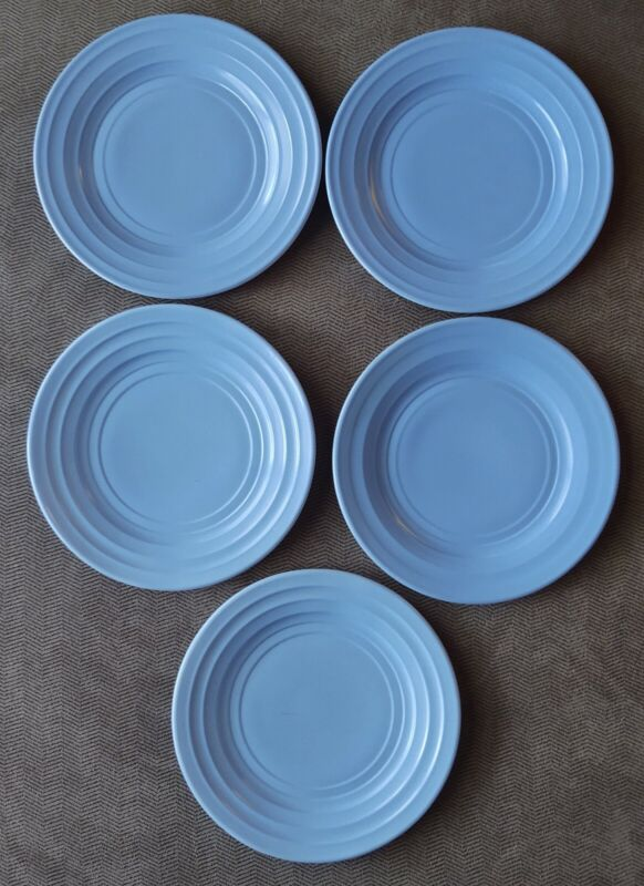 "Set of 5 Hazel Atlas Moderntone Platonite pastel blue 7"" salad plates"