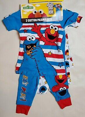 Monster Pajamas Toddlers (NWT Toddler Sesame Street 2 Cotton Pajama Sets  PJ 3T Elmo Cookie)