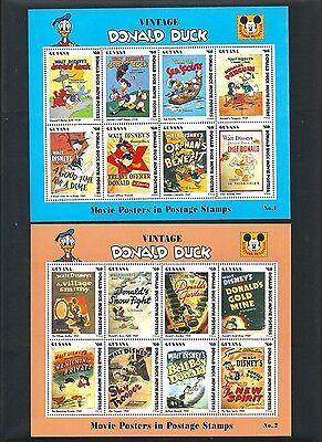 DISNEY 1993 - Guyana - 6 Mini Sheets - Donald Film Posters - Mint NH