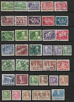 SWEDEN, 1930s to 1960s, 70+ Stamps. Mostly Used - A Few Mounted Mint. (2 Scans)