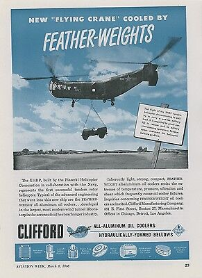 1948 Clifford Oil Cooler Ad Piasecki Xhrp Tandem Helicopter Flying Crane Navy