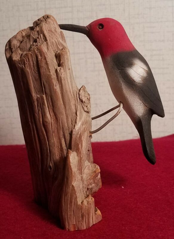 Folky Carved woodpecker, signed by Bryan Whaley, 1992