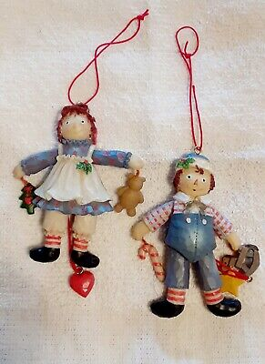Vintage Large Raggedy Ann &  Andy Christmas Pull String Ornaments   Very Nice !! ()