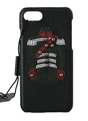 NEW $350 DOLCE & GABBANA Phone Case Black Leather Studded Applique iPhone7
