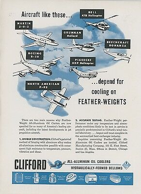 1948 Clifford Oil Cooler Ad Airplanes   Helicopters That Use Their Coolers