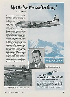 1948 OSTUCO Aircraft Tubing Ad Western Air Lines Airplane Aviation Airliner