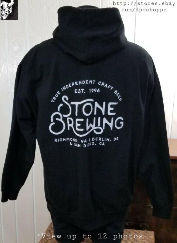 Stone Brewing Est. 1996 Craft Beer Black Full Zip Hoodie Sweatshirt Adult Sz XL