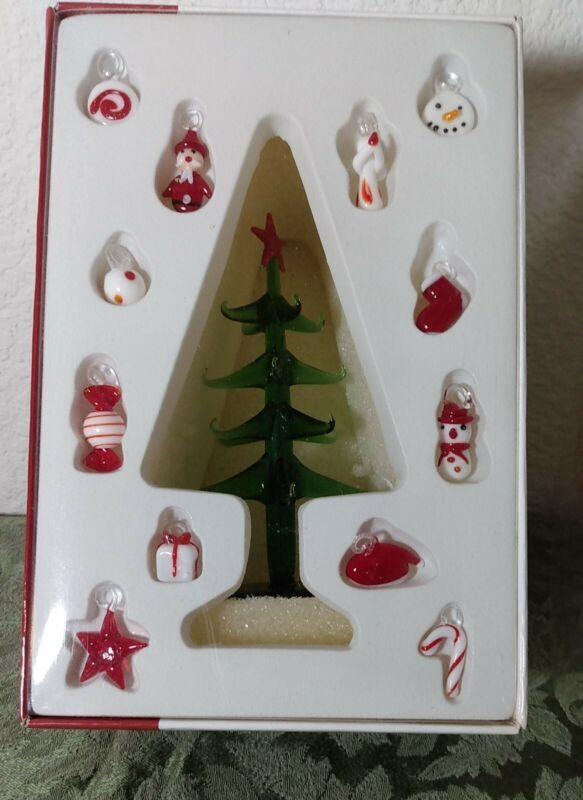 Studio Nova Festive Frosty Mini Blown Glass Christmas Tree with 11 Ornaments