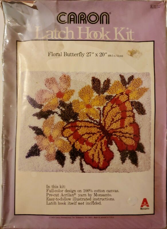 Sealed Caron Latch Hook Kit K3157 Floral Butterfly 27x20 Vintage 1979  K3157