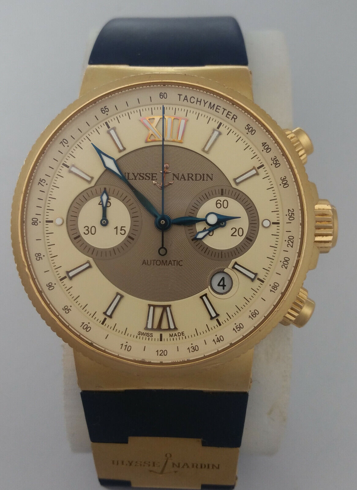 Giant Ulysse Nardin Marine 18k Rosy Gold Chronograph No. 877 356-66 Watch Box - watch picture 1