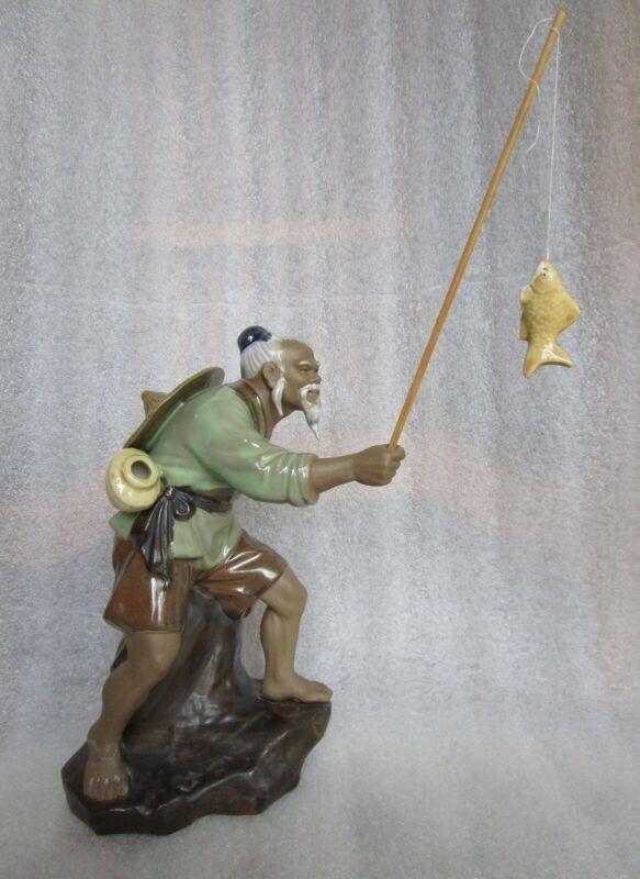 "Vintage Chinese Shiwan Ceramic Mudman Fisherman Figurine with Fishing Pole 8"""