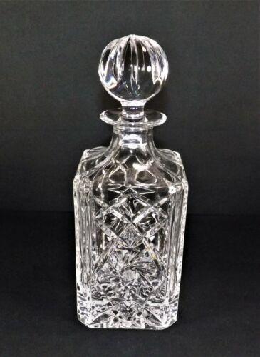 Antique Cut CRYSTAL DECANTER Liquor Bottle Pinwheel & Hobstar Square Bottle