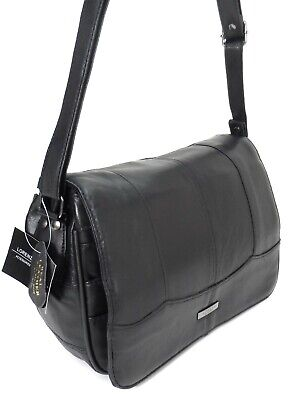 New Women Real Leather Multi Pocket Shoulder Bag Across Body Bag Handbag Black Black Across Body Bag