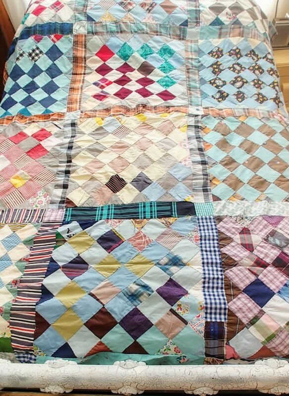"Vintage Unfinished Quilt Top Topper MultiColored 82""x 60"""