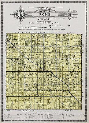 1921  Rome Michigan Map Churches Wolf Creek Plats Property Owners Original