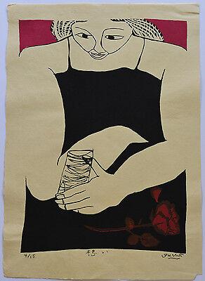 LARGE LIMITED EDITION JAPANESE WOODBLOCK PRINT By GASHU FUKAMI TITLE MIND 1994