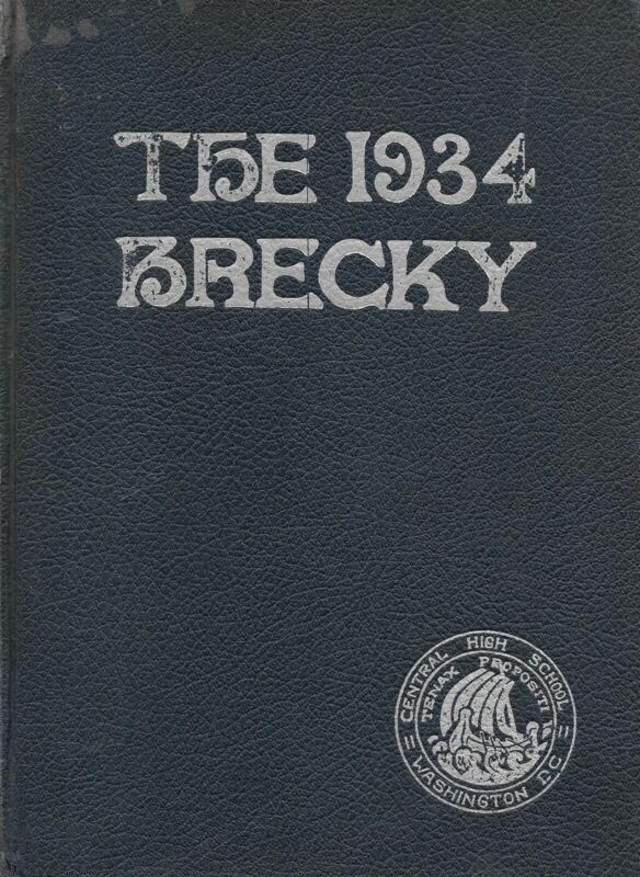 High School Yearbook Central High School Washington DC Brecky 1934 Free Shipping
