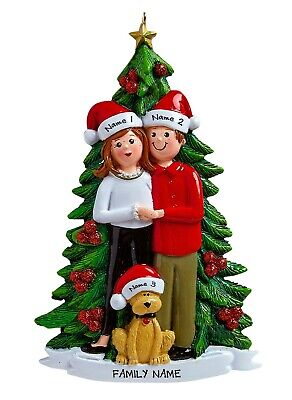 [PERSONALIZED - Sweetheart Couple With Dog - Family of 3 Christmas Ornament</Title]
