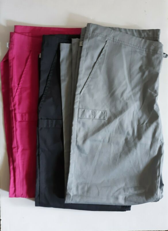Lot 3 Cherokee scrub bottoms in size Small Petite/Short in Grey, Charcoal, and P