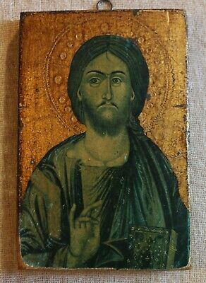 VINTAGE GREEK STYLE CHRISTIAN ICON - GILDED IMAGE OF CHRIST ON WOOD