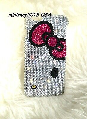 3D pink bow hello kitty crystals case bling diamond cover + screen -