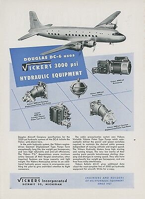 1946 Vickers Aviation Hydraulic Ad Douglas DC-6 Aircraft Airliner Vintage