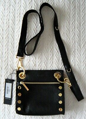 Hammitt -Tony - Mist Pebbled Leather Studded Crossbody Small - Black/Gold - NWT Gold Pebbled Leather