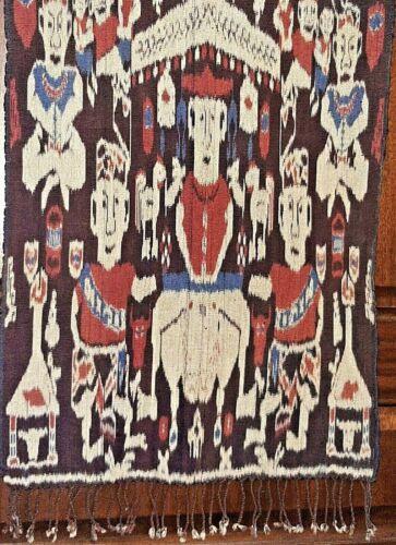Vintage Indonesian Sumba IKAT - Hand Loomed - Shawl Runner Cloth Textile