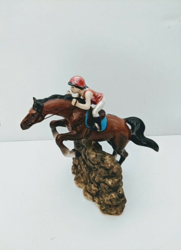 Hagen-Renaker Specialty Jumping Horse With English Rider  Ceramic Figurine Vtg