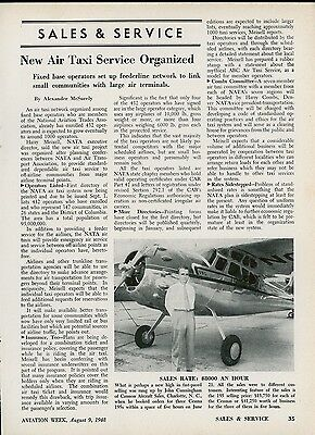 1948 Aviation Article New Air Taxi Service Organized Operators Feederlines