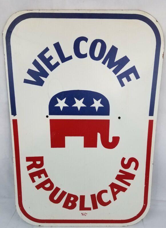 """Republican National Convention welcome Sign 1975 Kansas City MO 36"""" Original GOP"""
