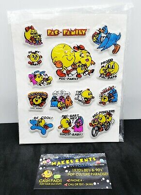 Vintage 1982 PAC-MAN Puffy Stickers w/ Googly Eyes NOS NIP 17 Stickers 80s Bally