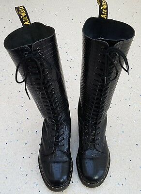 Dr. Martens Women's Black Leather Snakeskin Look 20 Eyelet Boots SN9730 Size 6.5