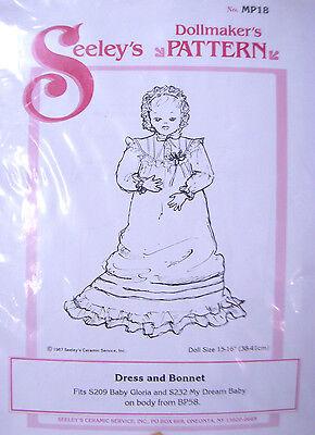 "Seeley's Dollmakers Pattern MP18 - DRESS & BONNET - Dream Baby & Gloria 15-16"""